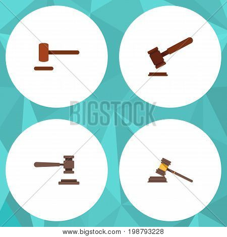 Flat Icon Court Set Of Defense, Justice, Court And Other Vector Objects