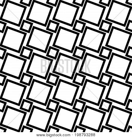 Monochrome abstract seamless geometric square pattern - vector background design from angular squares