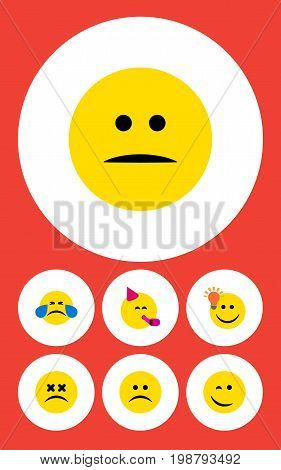 Flat Icon Emoji Set Of Displeased, Sad, Party Time Emoticon And Other Vector Objects