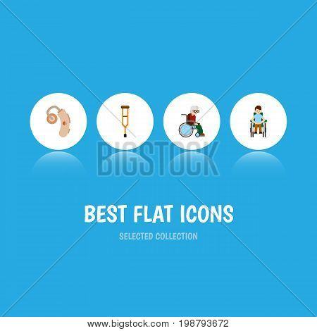 Flat Icon Cripple Set Of Stand, Disabled Person, Audiology Vector Objects