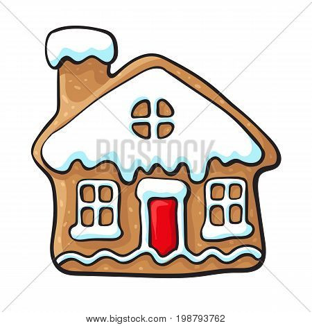 Glazed house-shaped homemade Christmas gingerbread cookie, sketch style vector illustration isolated on white background. Christmas glazed gingerbread cookie in shape of village house