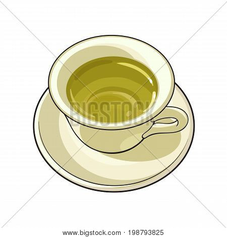 China, porcelain cup of green tea drink, sketch vector illustration isolated on white background. Hand drawn green tea drink in porcelain, china cup and saucer
