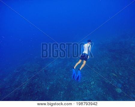 Freediver underwater in deep blue sea. Snorkeling man dives up to water surface. Open water diving lesson. Beautiful ocean deep open water. Diver man silhouette undersea photo. Sea landscape view
