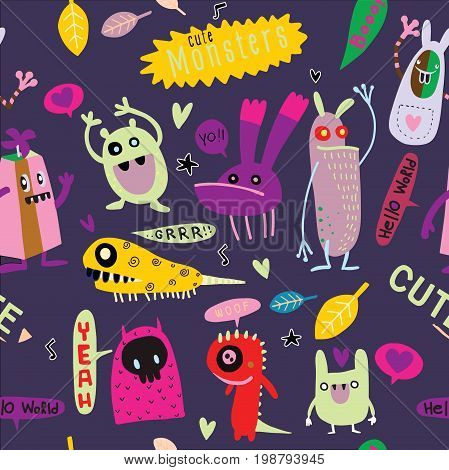 Cute Cartoon Monsters, Vector Cute Monsters Set Collection Isolated.