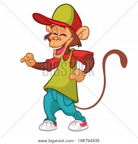 Cool monkey rapper character in modern clothes. Vector flat cartoon illustration outlined. Chimpanzee dancing
