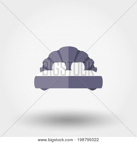 Double bed. Shell. Icon for web and mobile application. Vector illustration on a white background. Flat design style