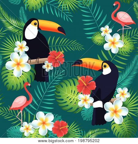 Tropical seamless pattern with toucans flamingos exotic leaves and flowers. Vector illustration