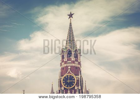 The Spasskaya tower of the Kremlin in the Red Square, Moscow, Russia. The Moscow Kremlin is the residence of the Russian president and the main tourist attraction of Moscow.