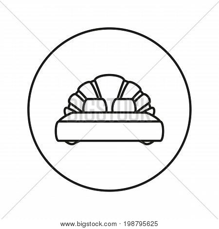Double bed. Icon for web and mobile application. Vector illustration on a white background. Line.