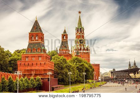 The Moscow Kremlin in the Red Square, Russia. The Moscow Kremlin is the residence of the Russian president and the main tourist attraction of Moscow.