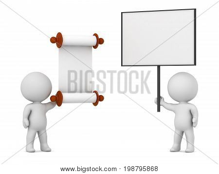 3D character holding a large protest sign against a character with a scroll law decree. Isolated on white background.
