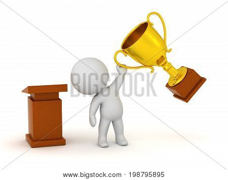 3D character next to a lectern holding up a large golden trophy. Isolated on white background.