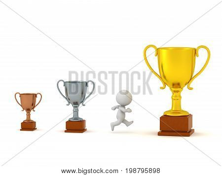 3D character running past small bronze and silver trophies toward large golden trophy prize. Isolated on white background.