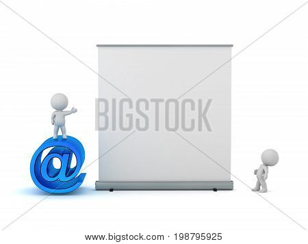 3D characters with a large At symbol and an advertising poster. Isolated on white background.