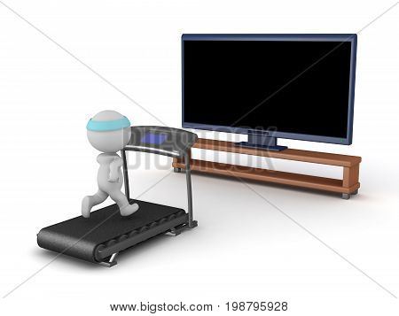 3D character running on a treadmill while looking at a large HD television. Isolated on white background.