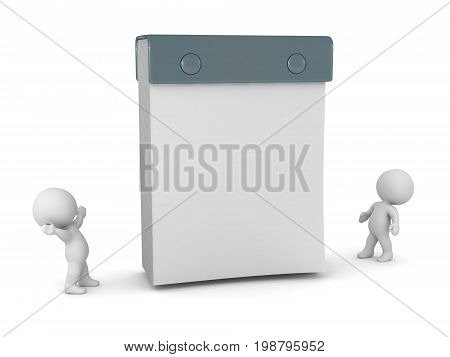 3D characters looking up at a large tear-off calendar. Isolated on white background.