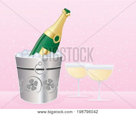 an illustration of a silver ice bucket with a bottle of champagne and two full glasses on a confetti background