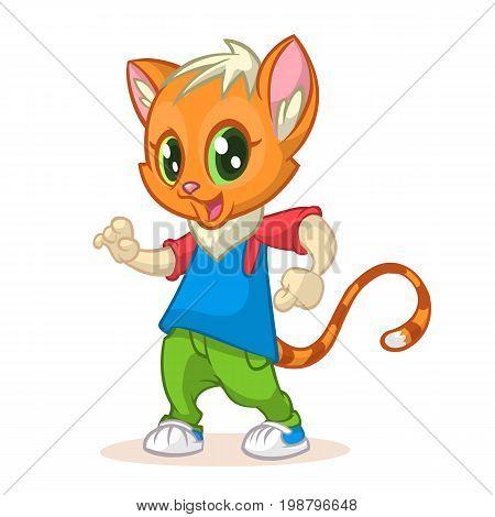 Cartoon kitty dancing. Vector illustration of happy cat dancing disco