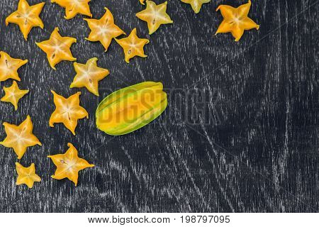 Star Fruits On Wooden Table. Thai Fruit : Star Fruit Is Popular In Asia, Sweet Taste Fruits. Star Fr