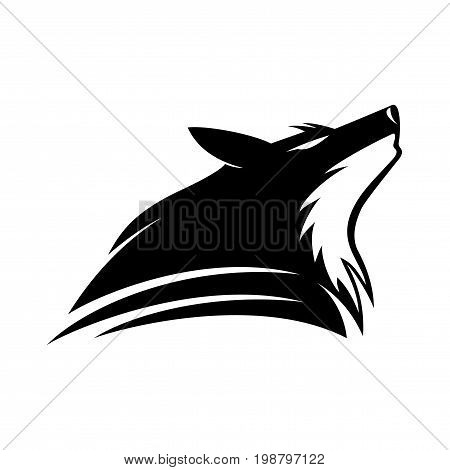Howling wolf sign on a white background.