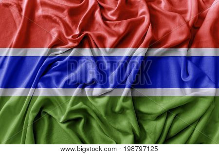 Ruffled waving Gambia flag national flag close