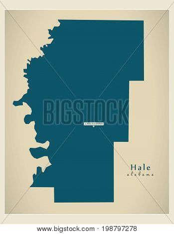Modern Map - Hale Alabama County Usa Illustration