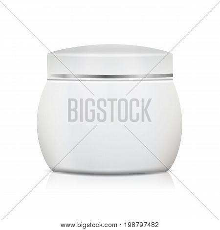 Blank Cosmetic Jar Vector. Clean White Jar For Cream, Gel, Powder, Wax. Cosmetic Package. Isolated On White