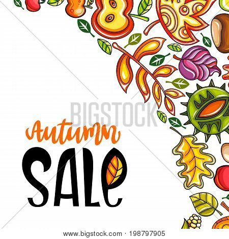 Vector Autumn Harvest Festival greeting card background. Hand drawn banner: ripe pumpkin oak leaf chestnut maple leaves vegetables acorn and mushroom. Farmer's market fall sale social media