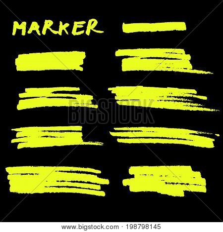 Vector Yellow Highlighter Brush Lines On Black Background.