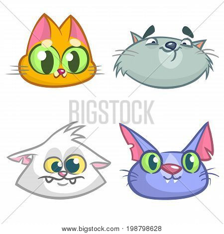 Cartoon Illustration of funny Cats ot Kittens Heads Collection Set. Vector pack of colorful cats icons. Cartoon Maine Coon siamese british and domestic