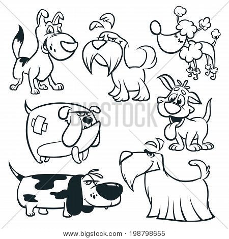 Cartoon dogs outlined. Vector illustrations of funny dogs: retriever dachshund terrier poodle spaniel bulldog basset hound. Coloring book