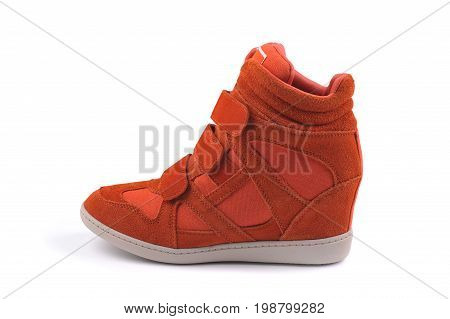 Red women boot isolated on white background