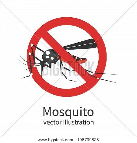 Stop mosquito. Red prohibition sign. Ban insects. Anti pest cartoon sign. Vector illustration flat design. Isolated on background. Malaria epidemic. No mosquito.