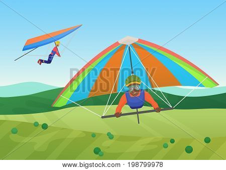 Vector illustration of black and white people flying on deltaplanes in sky under the field