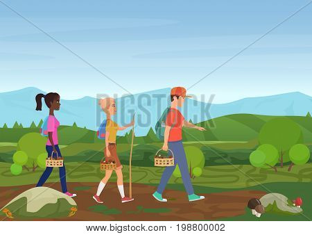 Vector illustration of happy friends walking in nature and picking the mushrooms
