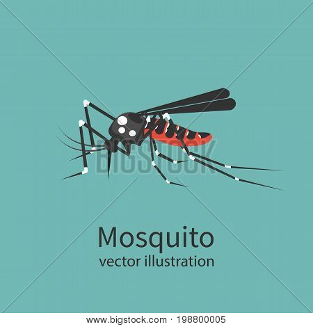 Mosquito icon isolated on background. Insect sign. Pest control. Vector illustration flat design. Bloodsucker cartoon.