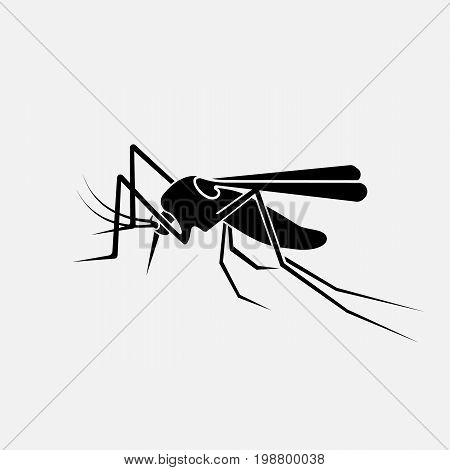 Mosquito black silhouette. Insect icon. Pest pictogram. Vector illustration flat design. Isolated on white background.