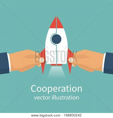 Cooperation concept. Business metaphor. Teamwork, partnership. Two businessmen hands connect missile as symbol successful business. Solution collaboration. Vector flat design. Isolated on background.