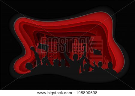 Paper art carving of silhouette of cheering or protesting crowd with flags and banners and cityscape. Protest, revolution, conflict. Vector illustration.