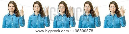 Isolated set of counting girl on a white background
