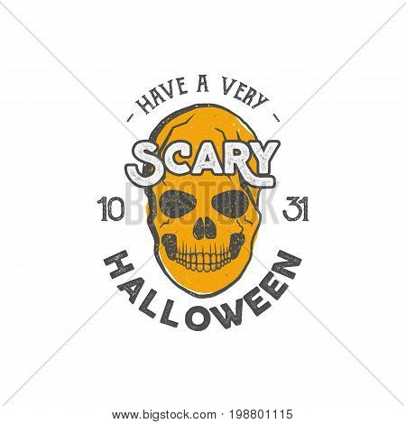 Halloween party label template with skull and typography elements. Stock Vector illustration text with retro grunge effect. Stamp for scary holiday celebration. Print on t shirt, tee design, apparel.