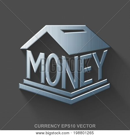 Flat metallic money 3D icon. Polished Steel Money Box icon with transparent shadow on Gray background. EPS 10, vector illustration.