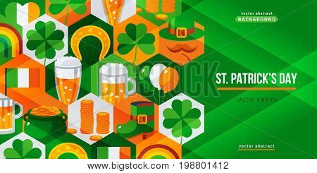 Saint Patrick's Day creative flyer. Vector illustration. Irish traditional design icons. Concept for web and promotional banner. Eat, drink and be irish