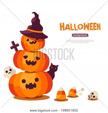 Halloween pumpkins on white background. Vector illustration. Ghost, black cat and skull. Pumpkin in witch hat, Jack o lanterns