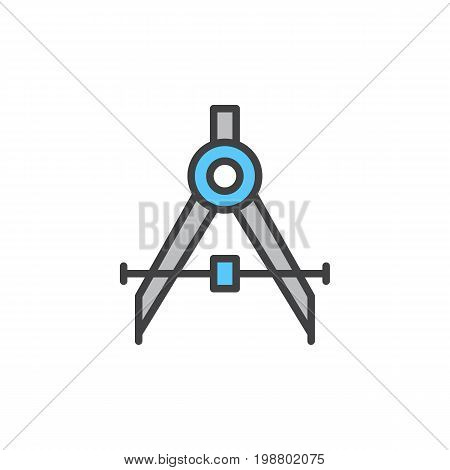 Drafting compass filled outline icon, line vector sign, linear colorful pictogram isolated on white. Symbol, logo illustration. Pixel perfect vector graphics