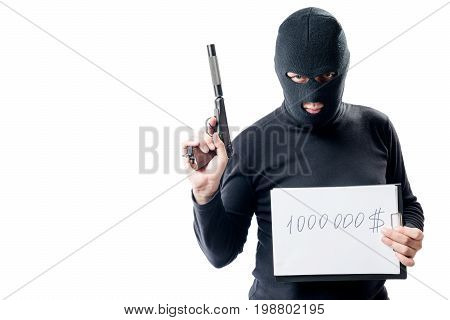 Thief With The Weapon Shows The Sum Of The Ransom For The Hostage