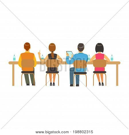 Students sitting at desks and listening at college or university auditorium, back view, high school education vector Illustration on a white background
