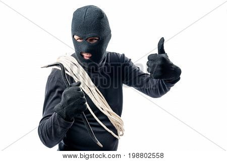 Burglar With Rope On White Background In Studio