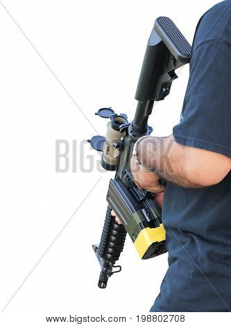 Close-Up Picture Of Asian Man With A Rifle Gun In Hand.