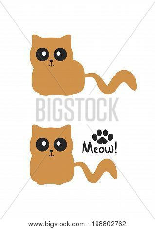 Funny brown smiling cat with big eyes. Silhouette paws and handwritten text Meow! Vector illustration.